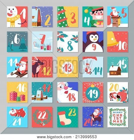 Christmas Holiday Advent Calendar Template Design. Merry Xmas Days Countdown Game With Card Decorati