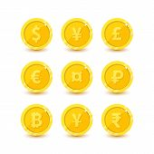 Currency flat vactor symbol set. Money icons with images of currencies different countries dollar sign, euro sign, pound sterling, yen, yuan and bitcoin poster