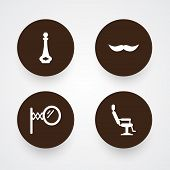 Collection Of Looking-Glass, Whiskers, Elbow Chair And Other Elements.  Set Of 4 Barbershop Icons Set. poster