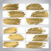 Banners. Set of trendy gold vector banners template or website headers with watercolor imitation background. Advertising banners with gold watercolor spots. Design for banner. card, header, background poster