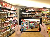 Augmented and virtual reality technology futuristic concept Retailer use augmented combine virtual reality technology to find the data of eye tracking heat map to management analysis to improve poster