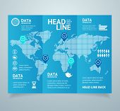 Realistic 3d Detailed Leaflet Booklet Trifold Design with Map Logistics and Delivery Cargo Service for Business. Vector illustration poster