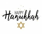 Vector illustration of Happy Hanukkah. Lettering text sign isolated on white background. Judaism symbol. Hanukkah logo for greeting card template poster
