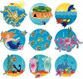 Warm water life - fish underwater scenes octopuses mermaid treasure island - nine round mini-illustrations poster