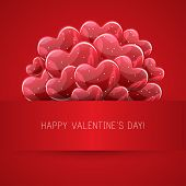 Vector holiday illustration of bunch of red glossy helium balloons heart shape. Happy Valentines Day. Festive decoration. Balloon Hearts. poster