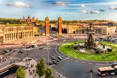 Aerial view of Placa d'Espanya towards the Venetian Towers and the National Art Museum. This iconic square is located at the foot of Montjuic and it's a major landmark in Barcelona Catalonia Spain poster