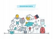 Education cost concept. Invest money in education, study cash, tuition fees, tax, pay, spending education money investment. Calculation, management. Illustration thin line design of vector doodles. poster