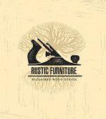 Hand Plane Custom Rustic Furniture Wood Works Interior Design Stamp Collection. Reclaimed Wood Vintage Artisan Illustration. poster