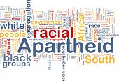 Background concept wordcloud illustration of apartheid poster