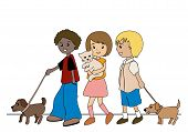 Illustration of Kids walking their pets with Clipping Path poster