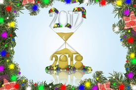 New year in a hourglass with the frame