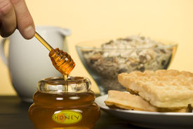 Honey Pot mit Waffeln.