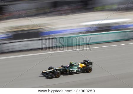Vitaly Petrov down the main straight