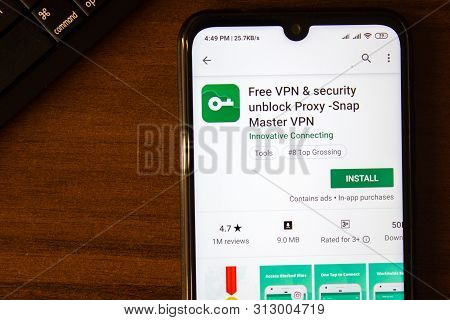 Ivanovsk, Russia - July 07, 2019: Free Vpn And Security Unblock Proxy - Snap Master Vpn App On The D
