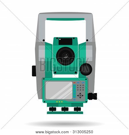 Geodetic Tool For Measuring Distances And Angles - Total Station - Isolated On A White Background. V
