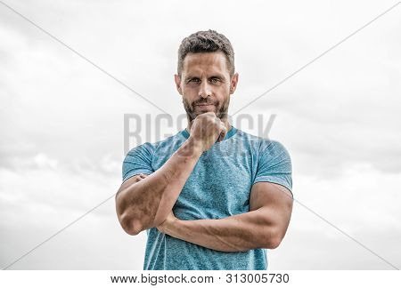 Thoughtful Man Isolated On White. Sportsman With Athletic Body. Coach In Fitness Gym. After Workout.