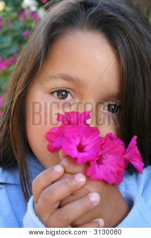 Little Girl Holding Posy