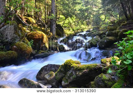 Waterfall In Mountains In Alaska. Cascading Waterfalls In Skagway, Alaska On Hike/hiking Trail To Lo
