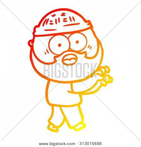 warm gradient line drawing of a cartoon bearded man grasping poster