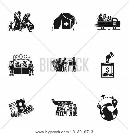 Refugees People Icon Set. Simple Set Of 9 Refugees People Vector Icons For Web Design Isolated On Wh