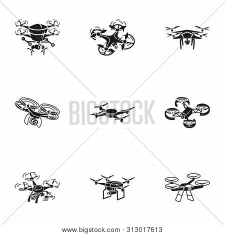 Drone Icon Set. Simple Set Of 9 Drone Vector Icons For Web Design Isolated On White Background
