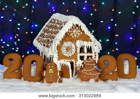The Hand-made Eatable Gingerbread House, 2020 Inscription, Little Man, New Year Tree, Snow Decoratio