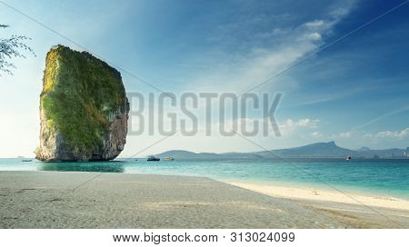 beach of Koh Poda island in Krabi province, Thailand
