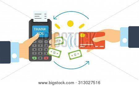 Financial Transactions, Cashless Operation On Payment. Pos Terminal And Payments Systems. Bank Card,