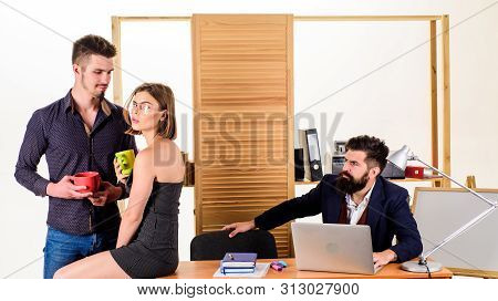 Flirting And Seduction. Flirting With Coworker Coffee Break. Woman Flirting With Coworker. Woman Att