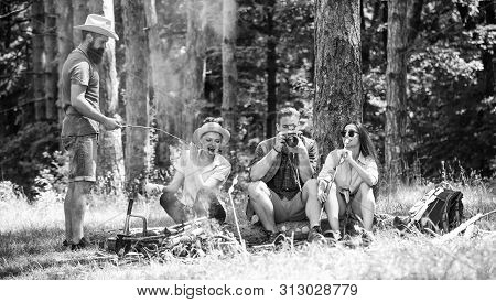 Halt For Snack During Hiking. Company Friends Relaxing And Having Snack Picnic Nature Background. Ca