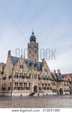 Diksmuide, Flanders, Belgium -  June 19, 2019: Grote Markt. Brown Brick Historic City Hall, Or Stadh