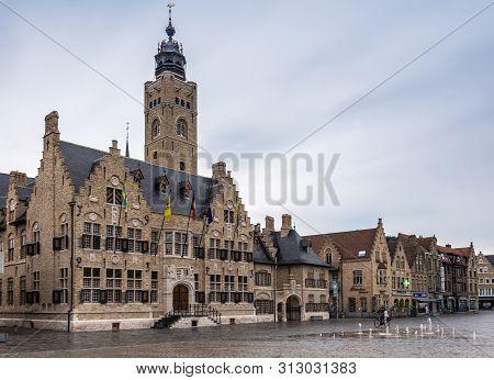 Diksmuide, Flanders, Belgium -  June 19, 2019: Grote Markt. Wider Shot Of Brown Brick Historic City