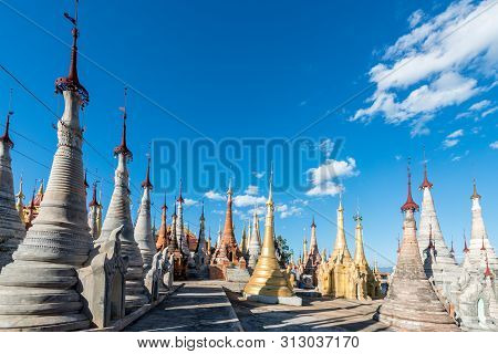 Inle Lake, Myanmar - 30 November, 2018: Horizontal Picture Of Amazing Old Stupas At Indein Temple Lo