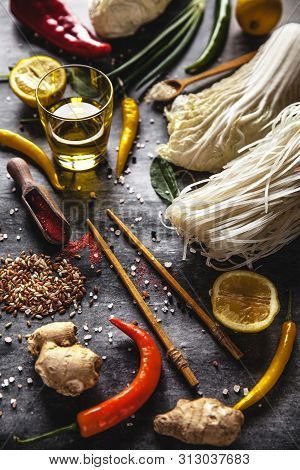 Hai Cuisine. Ingredients For Cooking Rice Noodles
