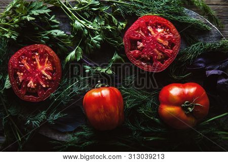Fresh Tomatoes On A Dark Background. Tomatoes, Parsley, Dill A