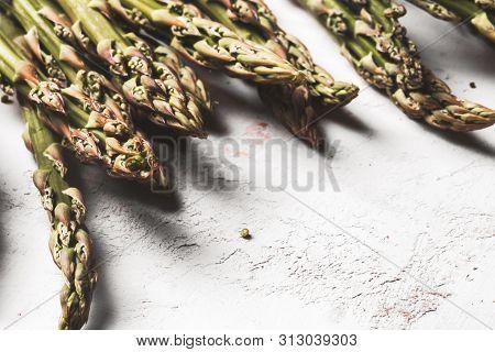 Fresh Green Spring Asparagus On A Wooden Background. Asparagus Season A