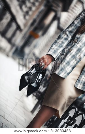 Outdoor Fashion Portrait Of Young Beautiful Fashionable Girl Wearing Trendy Checkered Blazer, Beige