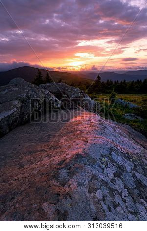 Sunset Along The Appalachian Trail On Top Of Grassy Ridge Bald At The Roan Highlands.