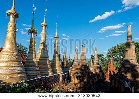 Wide Angle Picture Of Nature With Different  Architecture Stupas At Indein Temple, Landmark Of Inle