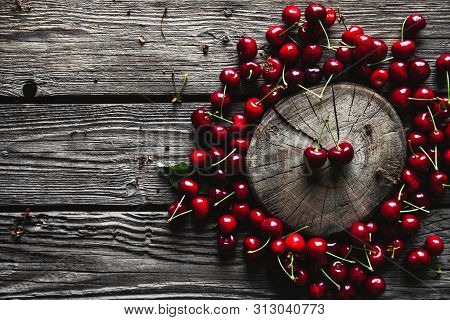Sweet Cherry On A Wooden Background, Healthy Food, Fruit A