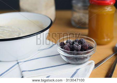 Ingredients For Oladyi, Pancake, Flapjack Cooking, Wholegrain Flour, Jam, Frozen Black Raspberry Or