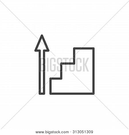 Career Ladder Line Icon. Upstairs Linear Style Sign For Mobile Concept And Web Design. Stairway Up A