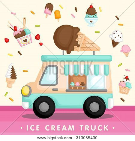 A Vector Of Cute Blue Ice Cream Truck With Various Type Of Ice Cream And Popsicle