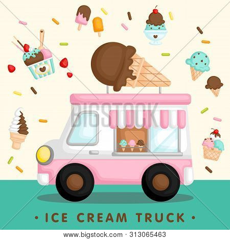 A Vector Of Cute Pink Ice Cream Truck With Various Type Of Ice Cream And Popsicle