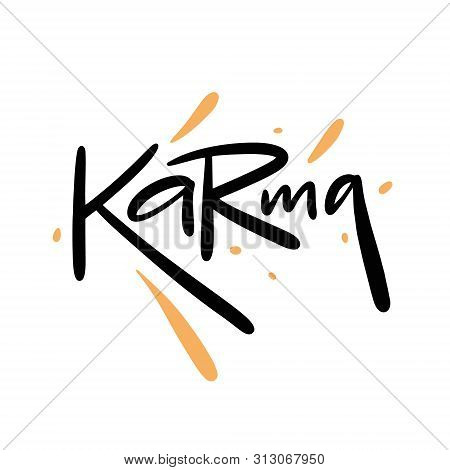 Karma Hand Drawn Vector Lettering. Calligraphy Style. Isolated On White Background.