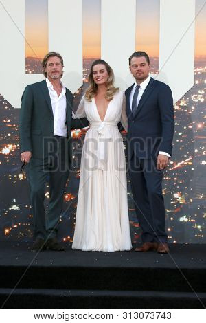 LOS ANGELES - JUL 22:  Brad Pitt, Margot Robbie, Leonardo DiCaprio at the