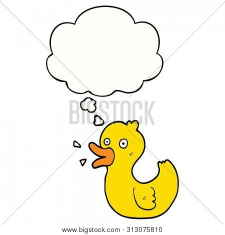 cartoon quacking duck with thought bubble