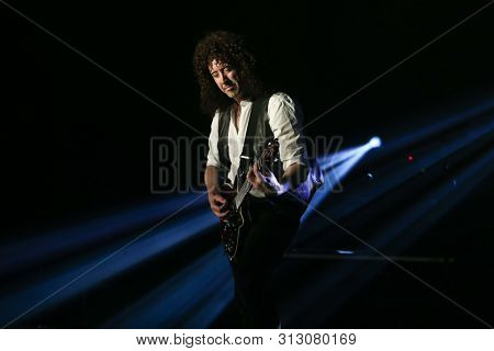 HUNTINGTON, NY - JUL 17: Simon Small of Killer Queen performs in concert at the Paramount on July 17, 2019 in Huntington, New York.