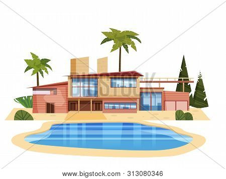 Modern Villa On Residence, Expensive Mansion Palm Trees. Luxury Cottage House Exterior Blue Swimming