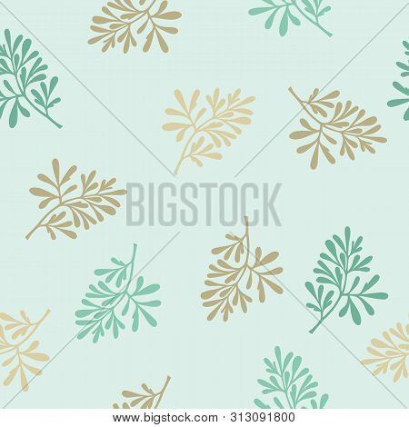 Medicinal Plant (ruta Graveolens) Botanical Vector Illustration Pattern. Can Be Used For Cards, Invi